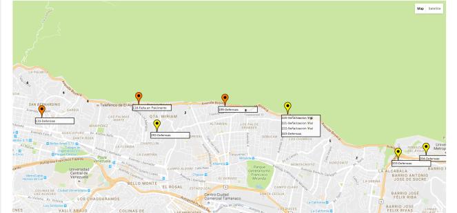 en el mapa se ven los iconos con los distintos eventos viales, el amarillo para severidad baja, naranja para severidad media, y rojo para ala. En caso de tener alguno resuelto se muestra en verde